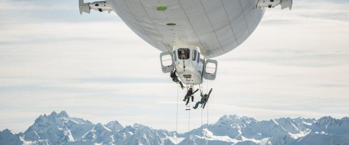 Zeppelin-Skiing: Extremsportler seilen sich aus Luftschiff ab